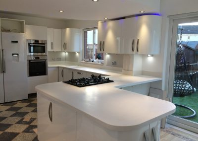 Surfstone Frosty White Worktops and Peninsular